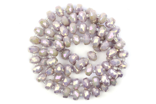 Kerrie Berrie 10mm x 6mm Faceted Crystal Glass Beads in Pastel Lilac