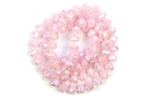 Kerrie Berrie 10mm x 6mm Crystal Glass Faceted Bead Strand in Pastel Pink
