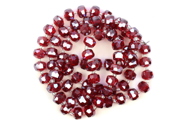 Kerrie Berrie 10mm x 6mm Crystal Glass Faceted Bead Strand in Red