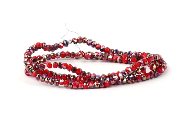 1.5mm x 2mm Red and Rainbow Crystal Glass Faceted Bead Strand