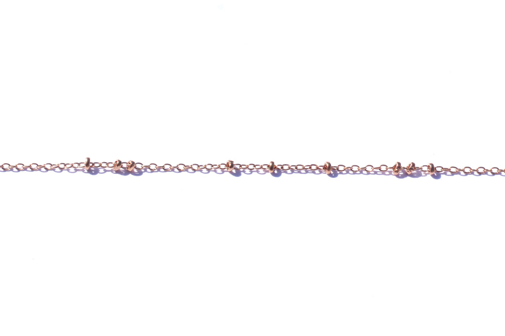 Fine Link and Bead Chain - Rose Gold (Tarnish Resistant)