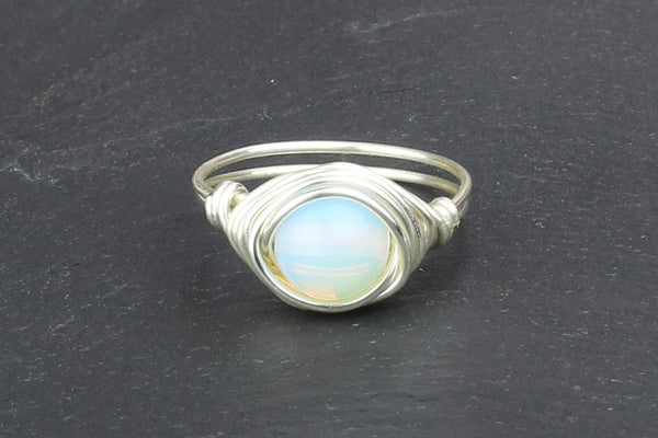 Opalite Wire-wrapped Ring – Silver
