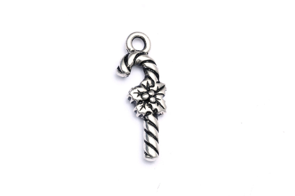Silver Candy Cane Charm.  Ideal for jewellery making and other festive crafts.