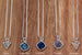 "Druzy Crystal Silver Necklace with 16"" Sterling Silver chain – CHOICE OF COLOURS"