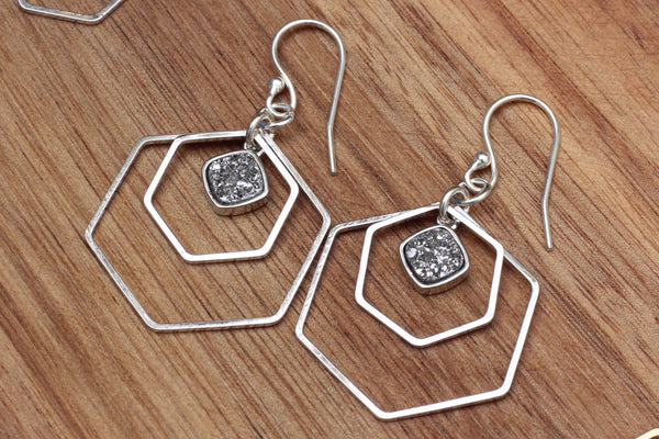Silver Geometric Druzy Earrings
