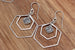 Kerrie Berrie Silver Rhodium Brass Geometric Hexagon Shape Earrings