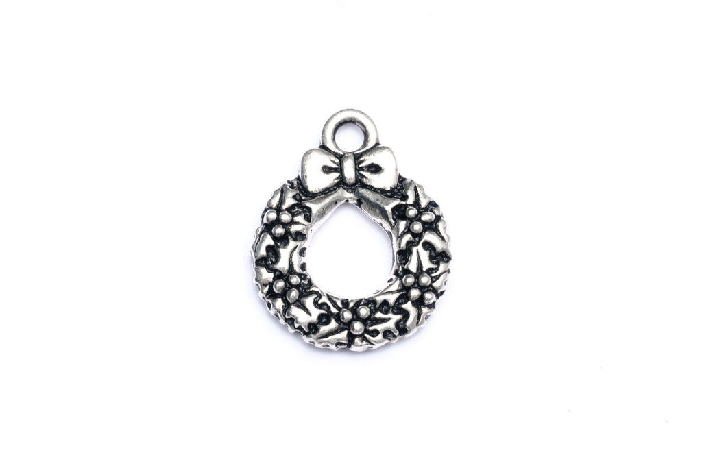 Silver Christmas Wreath Charm. Ideal for jewellery making and other festive crafts.