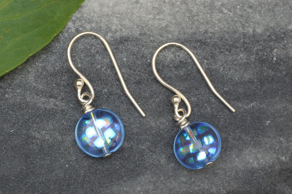 Kerrie Berrie Blue Czech Glass Earrings with Sterling Silver Hooks