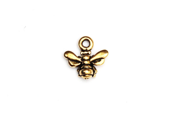 KerrieBerrie Small Gold Bumble Bee Pewter Gold-plated Charm
