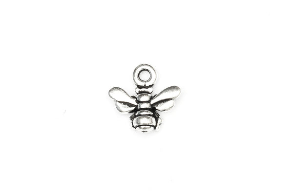 KerrieBerrie Small Silver Bumble Bee Pewter Silver-plated Charm