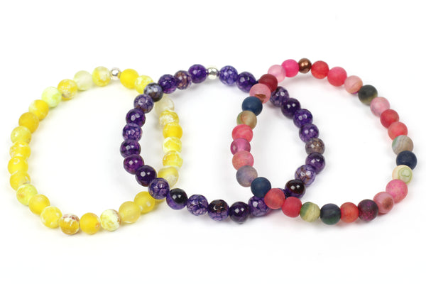 Kerrie Berrie Colourful Elasticated Genuine Real Agate Bracelet in Multi Colour Yellow Purple