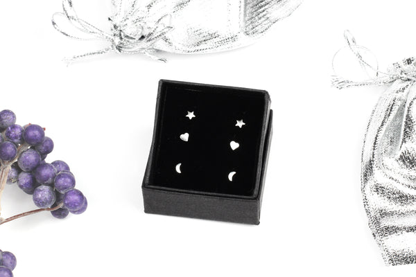 Sterling Silver Stud Earring Gift Set  - Star, Heart & Moon