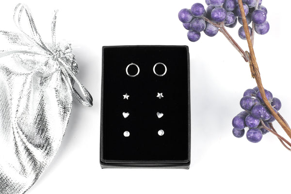 Sterling Silver Stud Earrings Gift Set