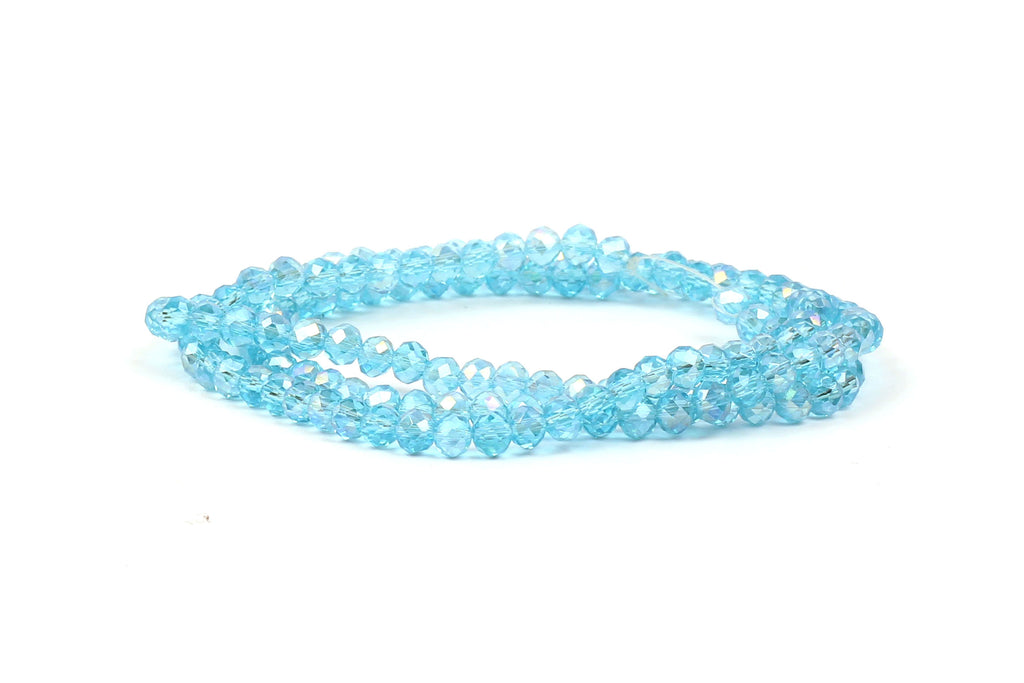 3x4mm Turquoise AB Crystal Rondelle Beads for jewellery making
