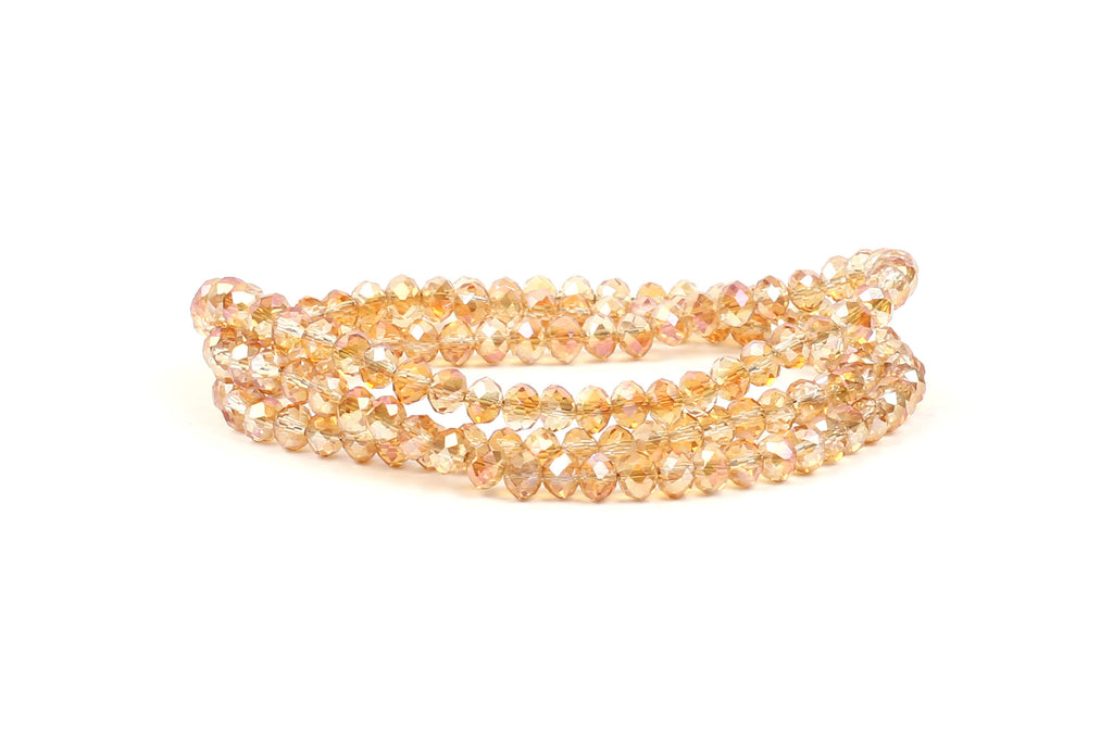 3x4mm Transparent Champagne Crystal Rondelle Beads for jewellery making