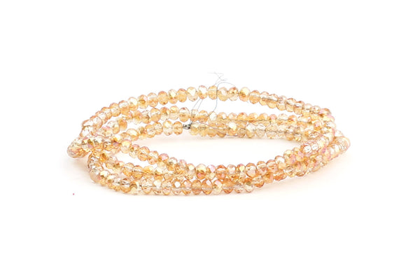 1.5mm x 2mm Transparent Orange Crystal Glass Faceted Bead Strand