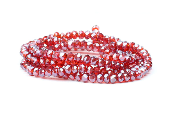 3x4mm Transparent Red Crystal Glass Faceted Bead Strand