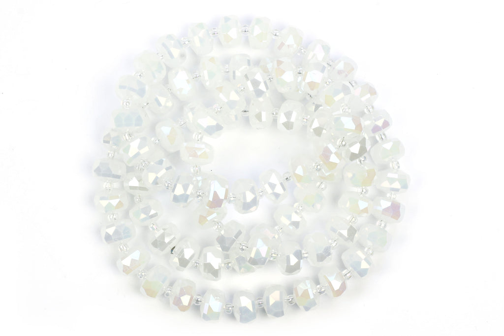 10mm x 6mm White (Ivory / Pearl) Crystal Glass Faceted Bead Strand (Approx. 77 beads)