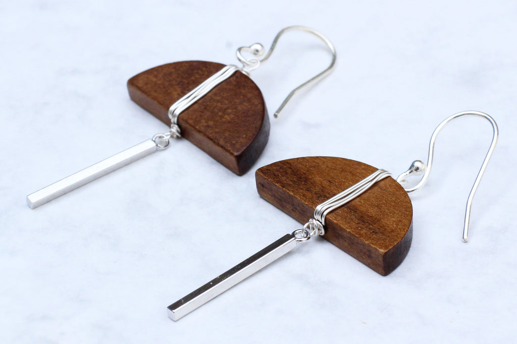 Kerrie Berrie Geometric handmade silver and wood earrings