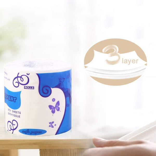 Toilet Paper-10 rolls Silky & Smooth Soft 3-Ply Srong Highly Absorbent -750g/10rolls - flagsshop
