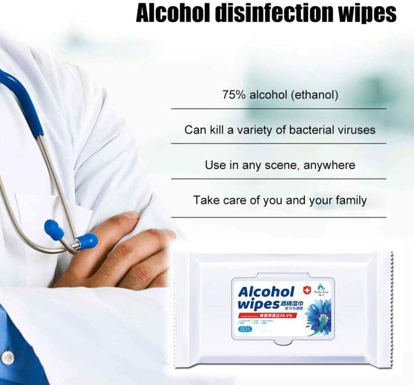 75% Alcohol Wipes for Viruses- Disinfection Wipes Portable Wet Tissue Mobile Phone Skin Toys Cleaning Travel - flagsshop