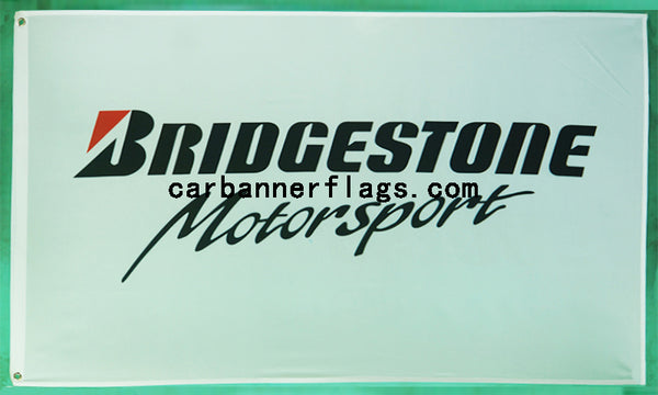 Bridgestone motorsport flag-3x5 FT-100% polyester Banner-White - flagsshop