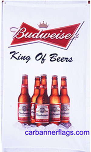 BUDWEISER KING OF BEERS VERTICAL WHITE FLAG BANNER 3X5FT BEVERAGES BEER ALCOHOL