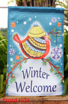 "Winter Welcome Bird Garden Flag Decorative Winter by Briarwood Lane - ""12.5 x 18"" ""28 x 40"" Inches"