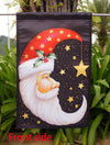 "Santa Moon - Decorative Christmas Celestial Star Winter Holiday House Flag - ""12.5 x 18"" ""28 x 40"" Inches"