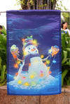 "Home Garden Glowman Snowman Decorative Small Garden Flag - ""18"" x 12.5 ""x 28 to 40 inches"