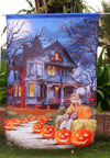 "Spooky Manor - Decorative Halloween Fall Jack o Lantern Pumpkin USA-Produced House Flag ""12.5 x 18"" ""28 x 40"" Inches - flagsshop"