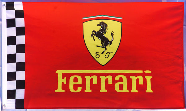 Ferrari checkered Flag for car racing-3x5 FT-100% polyester Banner - flagsshop