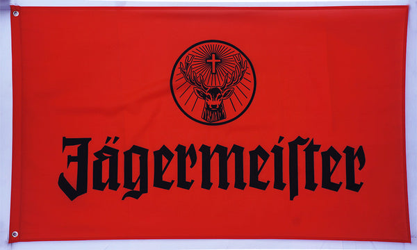 Jagermeister Flag-3x5 FT-100% polyester Banner-Red-White - flagsshop