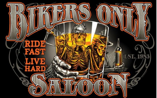 Bikers Only Saloon Flag-3x5 FT Banner-100% polyester-2 Metal Grommets - flagsshop