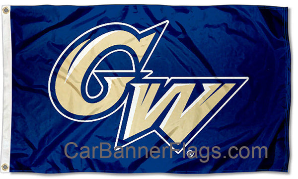 George Washington University Flag-3x5 FT GW Banner-100% polyester-2 Metal Grommets - flagsshop