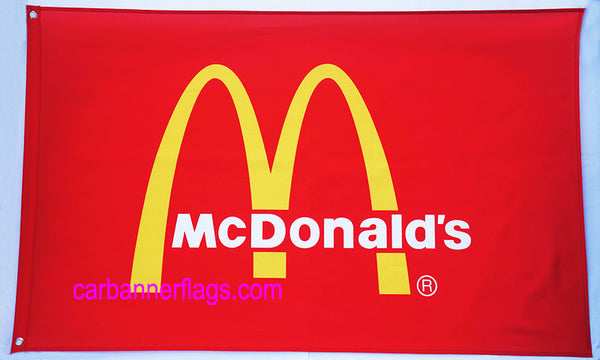 McDonald's Flag-3x5 Banner-2 Metal Grommets-Red - flagsshop