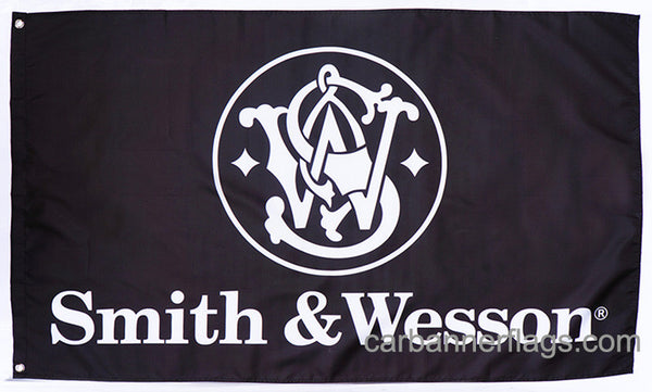 Smith Wesson Flag-3x5 FT-Black-100% polyester-2 Metal Grommets Banner-Black - flagsshop