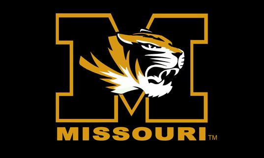 Missouri Tigers Flag MIZZOU Black Large Flag 3' x 5' NFL MLB Fan Flag Banner brass metal holes Flag - flagsshop