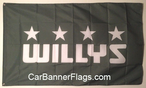 Willys Flag-3x5 FT Banner-100% polyester-2 Metal Grommets-overland quad willys ma willys mb - flagsshop