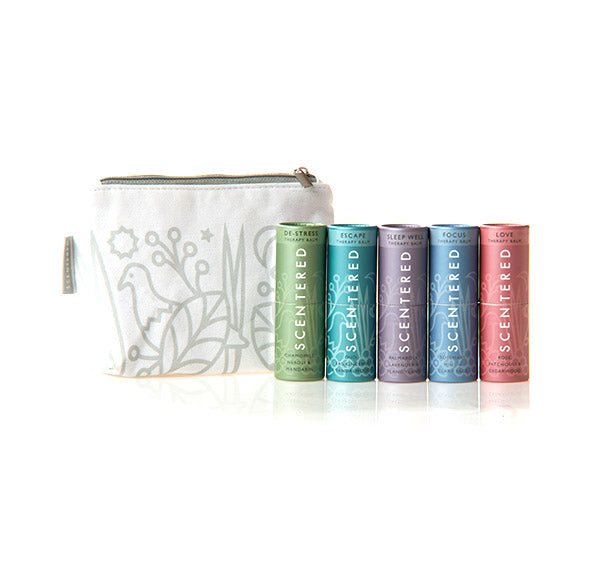 Scentered Aromatherapy Balm Sticks Gift Set - Set of 5 The Ultimate Survival Kit Portable Therapy Balm Sticks