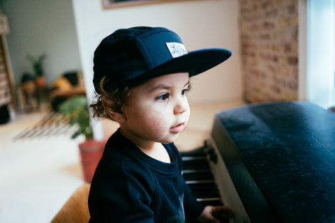 5 panel cap in navy for babies and toddlers