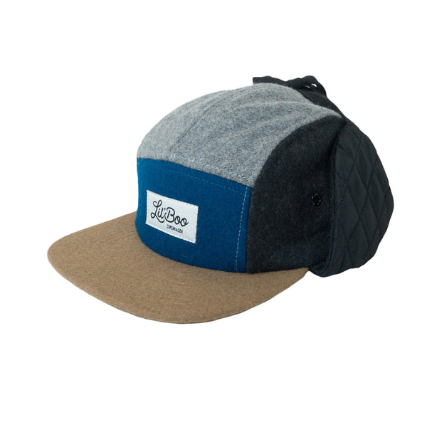 Wool Block 5 Panel W. Ears - Grey/Blue
