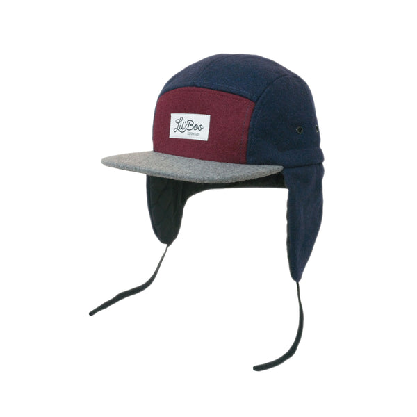 Wool Block 5 Panel W. Ears - Burgundy/Grey/Navy
