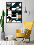 Blue and Gold Geometric Print