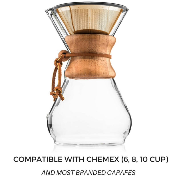 Reusable Pour Over Filter for Chemex and Hario V60 (Gold) 1