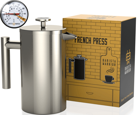French Press Coffee Maker (Silver) - 1 Liter | 34 fl oz