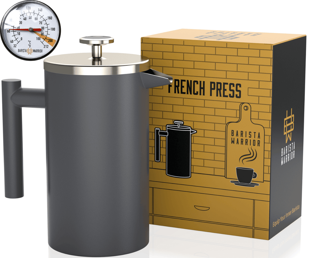 French Press Coffee Maker (Grey) - 1 Liter | 34 fl oz