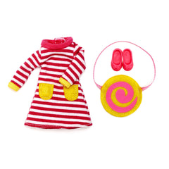 Raspberry Ripple Dress Outfit Set and Clothes for Lottie doll