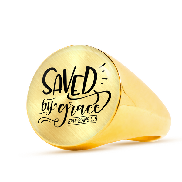 Saved By Grace Signet Ring (Unisex) - Hosanna Store