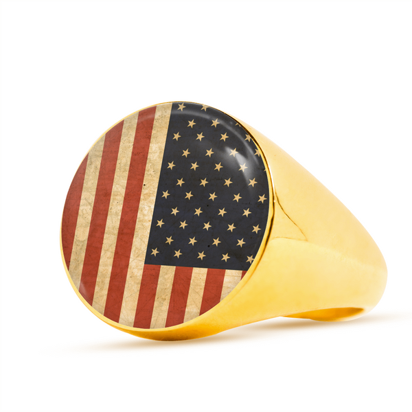 USA Flag Signet Ring (Unisex)